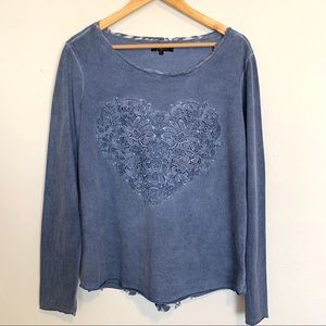 - Earl Jeans Blue Lace Heart Embellished Top…